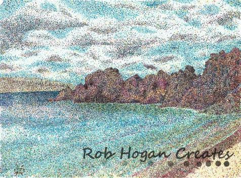 "Rob Hogan, ""Black Rock, Maui,"" Ink on Paper, 11 x 15 inches, 2010"