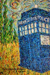 "Rob Hogan ""The Blue Box"" Acrylic on Canvas, 36 x 24 inches, 2013"
