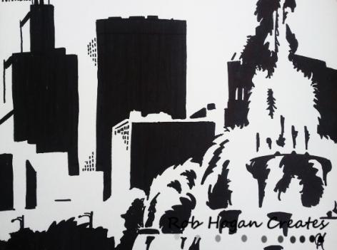 "Rob Hogan ""Buckingham West"" Marker on Paper, 24 x 18 inches, 2011"