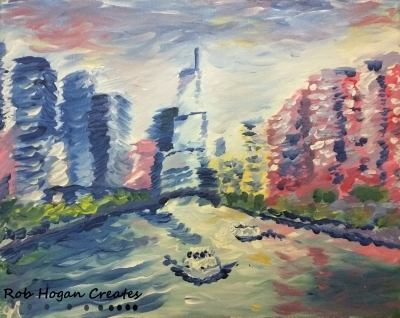 "Rob Hogan ""Chicago River West"" Acrylic on Canvas, 16 x 20 inches, 2015"