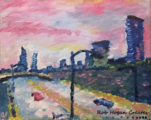 "Rob Hogan ""Columbus Avenue"" Acrylic on Canvas, 16 x 20 inches, 2015"