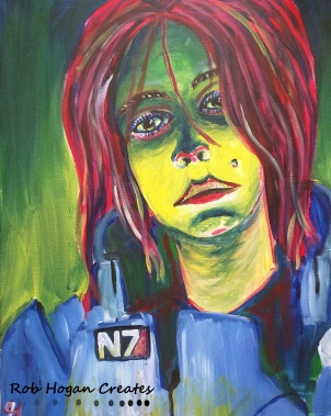 "Rob Hogan ""Mass Effect Cosplay"" Acrylic on Canvas, 20 x 16 inches, 2016"