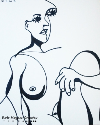 "Rob Hogan ""Cube Figure One"" Marker on Paper, 24 x 18 inches, 2011"