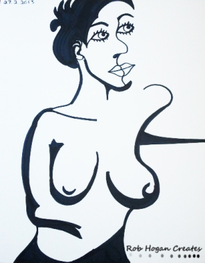 """Rob Hogan """"Cube Figure Two"""" Marker on Paper, 24 x 18 inches, 2011"""
