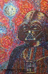 "Rob Hogan ""Darth Gogh"" Acrylic on Canvas, 36 x 24 inches, 2013"