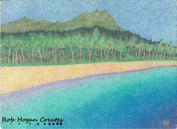 "Rob Hogan, ""Diamondhead, Oahu"" Ink on Paper, 11 x 15 inches, 2010"