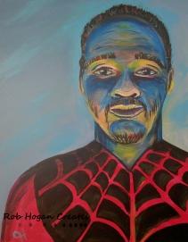 """Rob Hogan """"Spidey Cosplay"""" Acrylic on Canvas, 20 x 16 inches, 2016"""