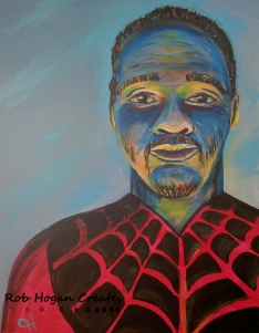 "Rob Hogan ""Spidey Cosplay"" Acrylic on Canvas, 20 x 16 inches, 2016"