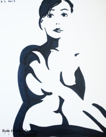 "Rob Hogan ""Cube Figure Three"" Marker on Paper, 24 x 18 inches, 2011"