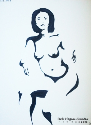 "Rob Hogan ""Cube Figure Five"" Marker on Paper, 24 x 18 inches, 2011"