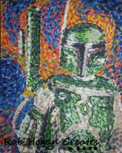 """Rob Hogan """"Gogh Ba Fett"""" Acrylic on Canvas, 20 x 16 inches, 2013"""