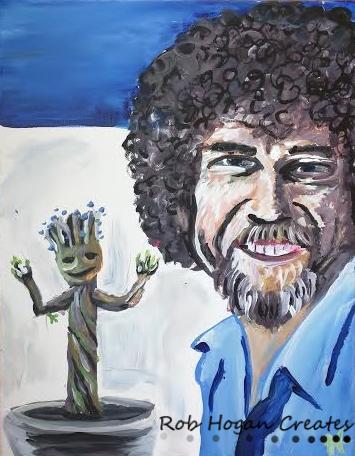 "Rob Hogan ""Happy Little Tree"" Acrylic on Canvas, 18 x 14 inches, 2014"