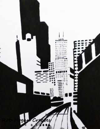 "Rob Hogan ""Roosevelt Bridge North One"" Acrylic on Canvas, 30 x 24 inches, 2011"