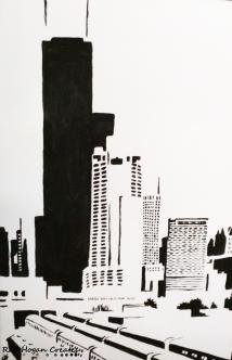 "Rob Hogan ""Roosevelt Bridge North Two"" Acrylic on Canvas, 36 x 24 inches, 2011"