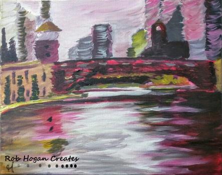 "Rob Hogan ""La Salle Bridge"" Acrylic on Canvas, 16 x 20 inches, 2015"