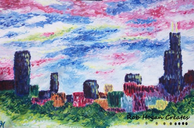 "Rob Hogan ""Skyline from Estate"" Acrylic on Canvas, 24 x 36 inches, 2015"