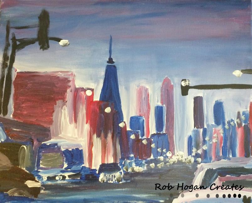 "Rob Hogan ""Chicago Avenue East"" Acrylic on Canvas, 16 x 20 inches, 2015"