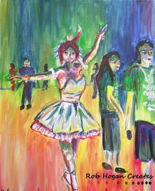 "Rob Hogan ""Tiny Dancer Cosplay"" Acrylic on Canvas, 20 x 16 inches, 2016"