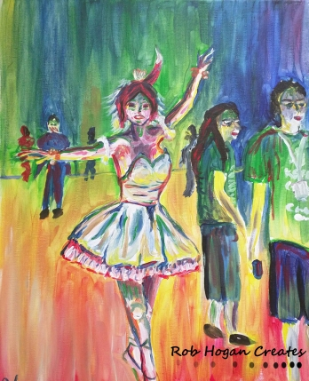 "Rob Hogan ""Tiny Dancer Cosplay"" Acrylic on Canvas, 20 x 16 inches, 2016"