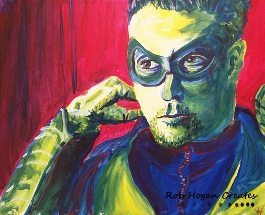 """Rob Hogan """"Archer Cosplay"""" Acrylic on Canvas, 16 x 20 inches, 2016"""