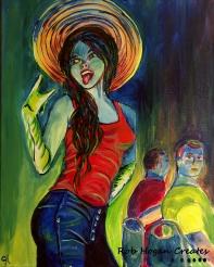 "Rob Hogan ""Marceline Cosplay"" Acrylic on Canvas, 20 x 16 inches, 2016"