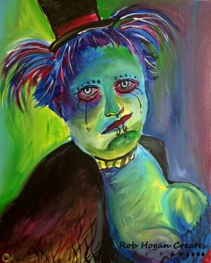 """Rob Hogan """"Goth Steampunk"""" Acrylic on Canvas, 20 x 16 inches, 2016"""