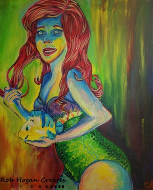 "Rob Hogan ""Ariel Cosplay"" Acrylic on Canvas, 20 x 16 inches, 2016"