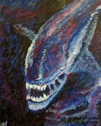 """Rob Hogan """"Impression of a Xeno"""" Acrylic on Canvas, 20 x 16 inches, 2015"""