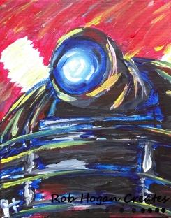 "Rob Hogan ""Impressions of an Angry Dalek Gogh"" Acrylic on Canvas, 20 x 20 inches, 2015"