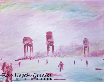 "Rob Hogan ""Impression of Hoth"" Acrylic on Canvas, 16 x 20 inches, 2015"