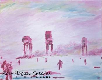 """Rob Hogan """"Impression of Hoth"""" Acrylic on Canvas, 16 x 20 inches, 2015"""