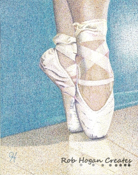 """Rob Hogan, """"Jessey on Pointe, 2012"""" Ink on Paper, 15 x 11 inches, 2012"""