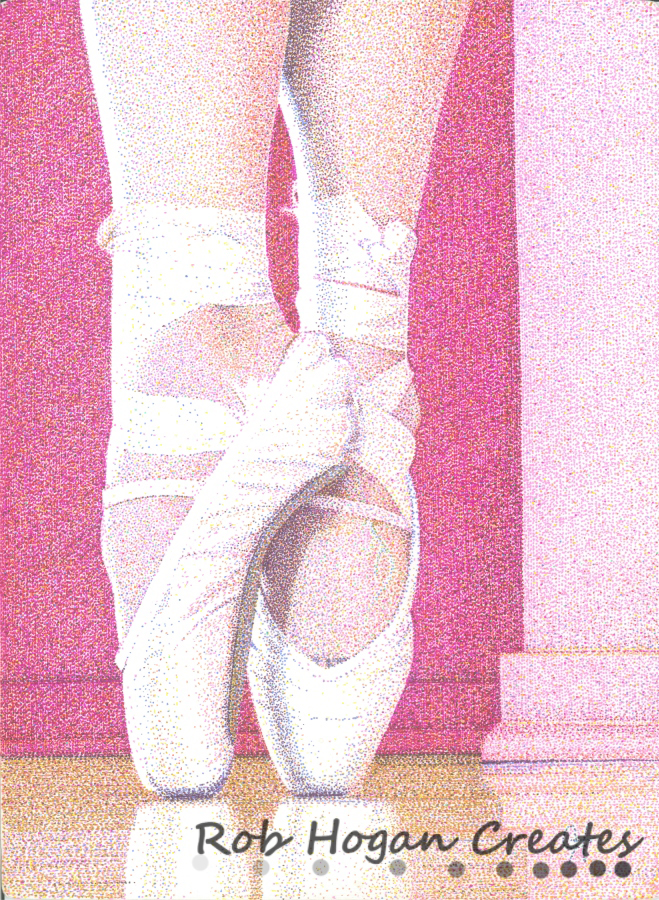 """Rob Hogan, """"Jessey on Pointe, 2011"""" Ink on Paper, 15 x 11 inches, 2011"""