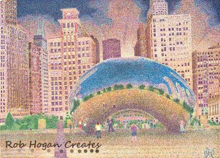 "Rob Hogan, ""Millennium Park at Dusk"" Ink on Paper, 11 x 15 inches, 2011"