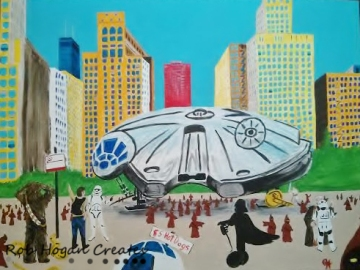 "Rob Hogan ""Millennium Parked, Illegally"" Acrylic on Canvas, 30 x 40 inches, 2013"