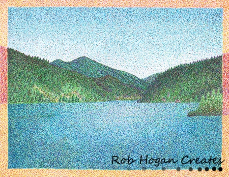 "Rob Hogan, ""Oregon Reservoir"" Ink on Paper, 11 x 15 inches, 2012"