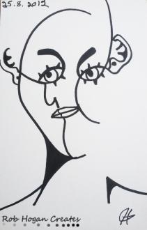 "Rob Hogan ""Cubism Minimalist Portrait Study"" Marker on Paper, 8 x 5 inches, 2011"