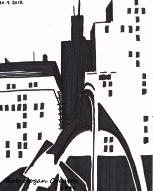 """Rob Hogan """"Daley Plaza West One"""" Marker on Paper, 12 x 9 inches, 2011"""