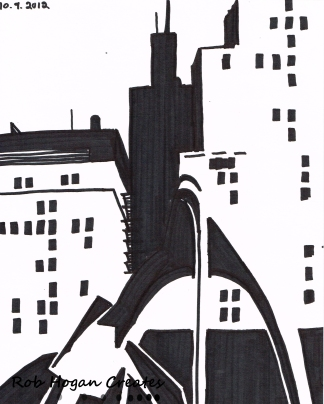 "Rob Hogan ""Daley Plaza West One"" Marker on Paper, 12 x 9 inches, 2011"