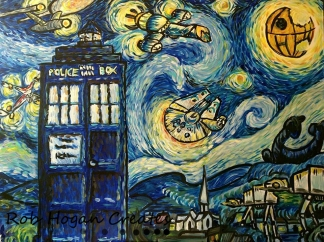 "Rob Hogan ""Starry Battles at Night"" Acrylic on Canvas, 30 x 40 inches, 2016"
