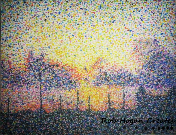 """Rob Hogan, """"Sunset Over Indiana"""" Oil Pastel on Canvas Board, 20 x 16 inches, 2013"""