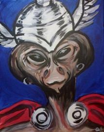 "Rob Hogan ""Thor Cosplays Thor"" Acrylic on Canvas, 20 x 16 inches, 2015"
