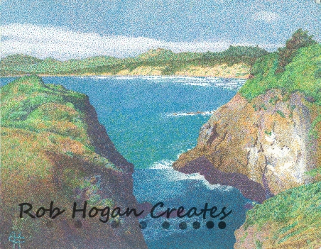 "Rob Hogan, ""Yaquina Head, Oregon,"" Ink on Paper, 11 x 15 inches, 2011"