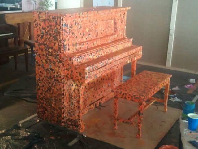 """Rob Hogan """"Orange in Dots"""" Acrylic Paint on Piano, 2013"""