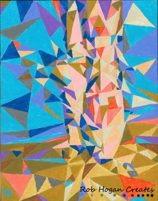 """Rob Hogan """"Jessey in Cubes"""" Acrylic on Canvas, 12 x 9 inches, 2012"""