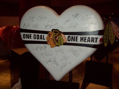 "Rob Hogan ""One Heart, One Goal"" Acrylic Paint on Fiberglass Sculpture, 4 x 3 feet, 2011"